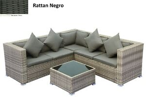 Conjunto Set Muebles de Jardín Terraza Ratán Sintético Juego Sofás con mesa