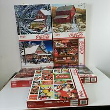 Lot Of 7 Springbok Coca-Cola 1500 Piece Jigsaw Puzzles Used Complete