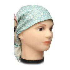 Cotton Fitted Bandana Headscarf Scarf Blue Cream Flowers One Size Blue Cream