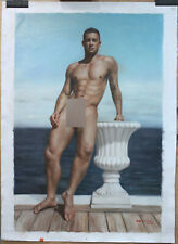 """Fine art nude male original oil painting on canvas men by the lake 24""""x36"""""""