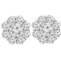 3 1/2 ct Halo Fire Diamond Studs 14K White Gold Womens Earrings