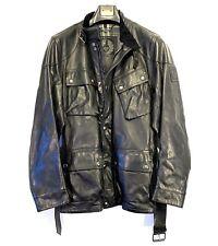 BELSTAFF Mens Panther Trialmaster Leather Jacket Black (MSRP $1,895)