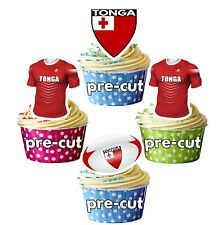 PRECUT Rugby Cupcake Toppers Cake Party Decorations - Tonga