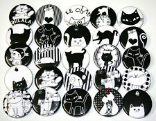 CUTE CARTOON CATS BADGES x 25 Buttons Pins Bulk Lot Cat Kitty 32mm 1.25""