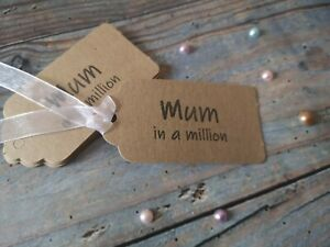 10 x MOTHER's DAY GIFT TAGS , Handstamped 'Mum in a million ',Birthday, organza