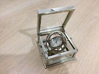 Silver Watch Hilser Pendulum or table clock. Crystal Box. Quartz Mineral Glass