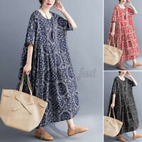 Womens 3/4 Sleeve Floral Printed Casual Loose Flare Swing Tunic Long Maxi Dress