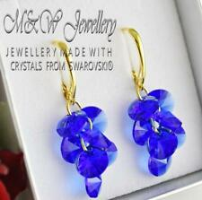 Gold Pl.925 Silver Earrings XILION RIVOLI Majestic Blue Crystals From Swarovski®