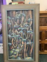 Ilma Craft Mid Century Modern Cliff Dwellers Painting Oil on Wood
