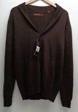 Perry Ellis Size Medium PRINCIPLE Brown Cotton Button Sweater New Mens Clothing