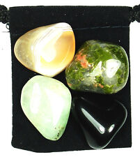 SPIRITUAL GROWTH Tumbled Crystal Healing Set = 4 Stones +Pouch +Description Card