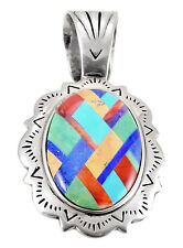 Southwestern Sterling Silver Pendant with Gemstone Inlay