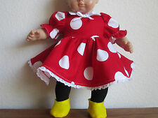 RED MINNIE DRESS fits Bitty Baby/Twins includes Yellow Slippers & Black Tights