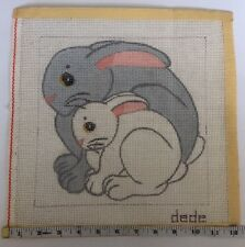 """Needlepoint Canvas """" Bunny Rabbits"""" by Dede 387-4 Hand Painted"""