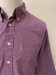 Ben Sherman Original Red/Blue Mix Check Button Collar Long Sleeve Shirt - Large