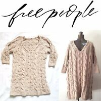 Free People Beige Cable Knit Chenille Chunky Oversize Sweater Jumper Dress Small