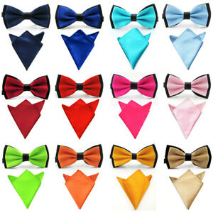 Men Satin Matching Color Bowtie Bow Tie Handkerchief Pocket Square Hanky Set