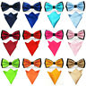 Men Satin Matching Color Bowtie Bow Tie Handkerchief Pocket Square Hanky Set
