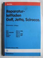 VW Golf 1+GTI+Cabriolet Elektrik+Kabelbäume Reparaturanleitung Werkstatthandbuch
