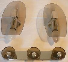 appliques porte manteaux verre fumé  fontane arte 1970 Vintage wall light glass