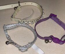 Cat Collars Lot Of 3 Purple, Silver, Cream NWOT