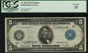 1914 $5 Federal Reserve Note Atlanta FR-865 - Graded PCGS 25 Very Fine