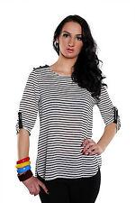 Gestreifte Langarm Damenblusen, - tops & -shirts ohne Kragen