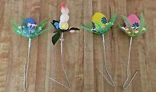 Vintage Set 4 Flocked Plastic Easter Bunny & Eggs w/ Flowers Picks
