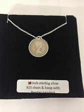 Elizabeth II Sixpence Pendant On 925 Sterling Silver Necklace 16,18,20,26,30