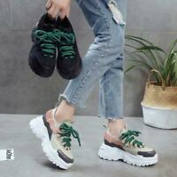Fashion Women's Shoes Platform Lace Up Creepers Casual Athletic Running Sneakers