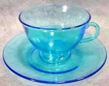 Azure BLUE Depression Glass FOOTED CUP SAUCER Set PIONEER Fostoria VINTAGE Blank