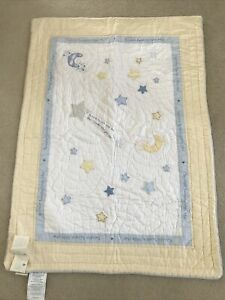 NWT 2009 Pottery Barn Kids Blue/Yellow Crib Quilt•Twinkle,Twinkle Little Star
