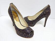 bd09acaec7 Michael Kors 6 M Black Gold Leopard Leather Open Toe Platform Pumps Heels