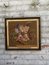 Vintage French Framed Tapestry Floral Large Still Life Wall Art