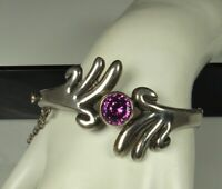 FORTINO MOTA Taxco Bracelet 1960s STERLING AMETHYST Antonio Pineda Design ? FAB!