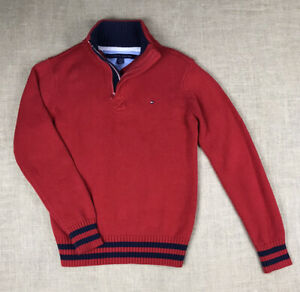 Tommy Hilfiger Knitted Red Pullover Sweater 1/4 Quarter Zip Size 12/14