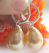 shell pearl earring-925 silver hoop E4705-20mm natural gold color south sea