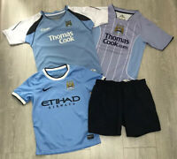 Boys kids bundle job lot Manchester City home away shirts shorts size 8-10 years