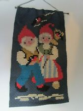 Vintage Woven Wall Hanging with Santa Claus & Mrs. Claus looks Scandinavian