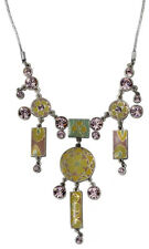 NEW - PILGRIM SILVER PLATED NECKLACE GEO COLLECTION SWAROVSKI CRYSTALS & ENAMEL