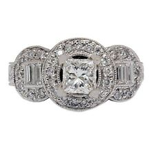 1.10 Carat GIA Certified Princess Cut Diamond Engagement Ring 18k White Gold
