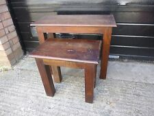 Nest of 2 Solid Sheesham Wood Chunky Small Tables