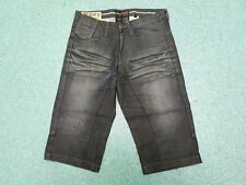 "Projek Raw Denim Shorts Waist 32"" Leg 17"" Faded Dark Blue Mens Denim Shorts"