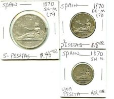 1870 Spain - 6 Coin Set - Very Nice!!