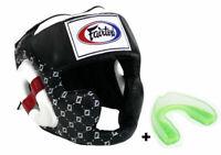 Fairtex HG10 Sparring Head Guard Black Headgear & Mouthguard Muay Thai Boxing