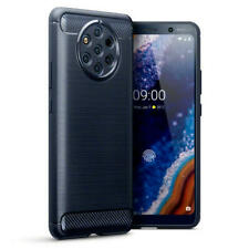 Carbon Fibre Design Brushed Effect TPU Gel Case for Nokia 9 PureView - Dark Blue
