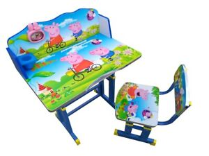 Kids Children Home Study PEPPA PIG Table Storage Cartoon Desk Chair Set