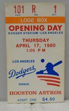 1980 Los Angeles Dodgers Vs Huston Astros Opening Day Ticket Stub Rare