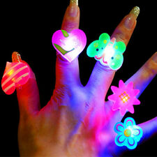 Novelty 10pcs LED Flashing Glow in Dark Finger Rings Party Favor Toys Kids Gift
