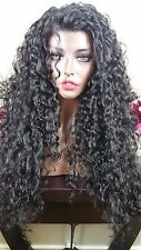 Soft Curly Synthetic Lace Front Wig in 1B  Long Layers Heat Safe Ok